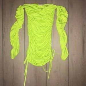 Oh Polly neon ruched strapless mini dress